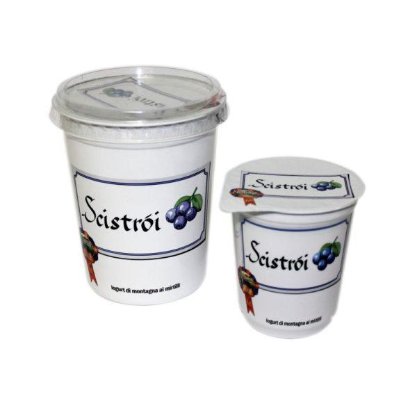 Yogurt Di Montagna Ai Mirtilli Scistròi 180g 500g Nostrani Del Ticino Agroval